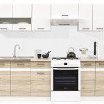 Kuchyň JUNONA 240 Bílý lesk/dub san remo světlý